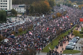 Belarus police fire stun grenades as 100,000 protest