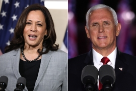 Kamala Harris and Mike Pence squared off in a wide-ranging contentious contest [AFP]