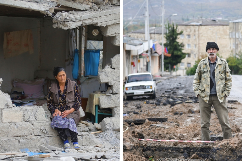 Left: A woman sits in the ruins of her house after shelling by Armenian's artillery during fighting over the region of Nagorno-Karabakh, in Terter, Azerbaijan. Right: A man stands in a street damaged by shelling of Azerbaijan's artillery in Stepanakert, a main city in Nagorno-Karabakh [AP Photo]