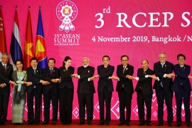 ASEAN and other Asia-Pacific leaders pose for a group photo during the 3rd Regional Comprehensive Economic Partnership Summit in Bangkok on November 4, 2019 [Manan Vatsyayana/ AFP]