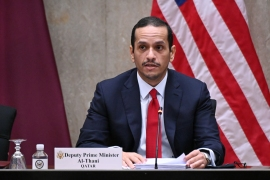 Qatar's Deputy Prime Minister Mohammed bin Abdulrahman Al Thani expressed his condolences in a phone call with Iranian Foreign Minister Mohammad Javad Zarif [File: Erin Scott/AFP]