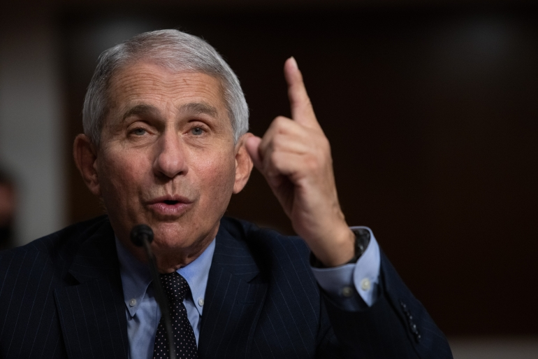 Director of the National Institute of Allergy and Infectious Diseases, Anthony Fauci, testifies during a US Senate hearing [File: Graeme Jennings/ Pool via AFP]