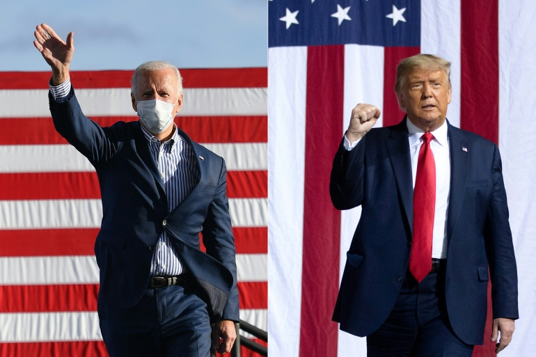 Biden and Trump are locked in a tight race as counting continues [File: Angela Weiss and Saul Loeb/AFP]