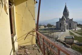 Vahram Poghosyan, a spokesman for the ethnic Armenian Nagorno-Karabakh leader, said Azeri forces were closing in on the capital Stepanakert [File: Karen Minasyan/AFP]