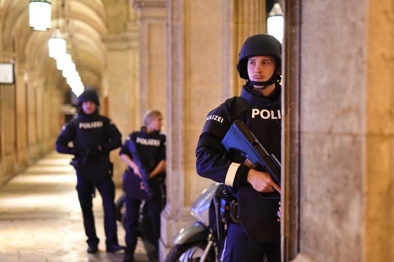 Kronen Zeitung newspaper reported a large police operation in Schwedenplatz square [Joe Klamar/AFP]
