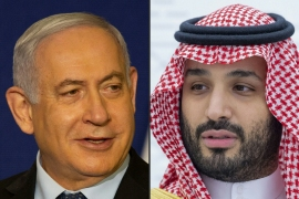 Israeli media quoted Israeli officials saying that Netanyahu and the head of the Mossad spy agency Yossi Cohen, 'flew yesterday to Saudi Arabia, and met Pompeo and MBS in the city of Neom' [Maya Alleruzzo and Bandar Al-Jaloud/AFP]