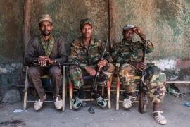 Members of the Amhara state's militia in Dansha, Ethiopia [File: Eduardo Soteras/AFP]
