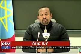 Ethiopian Prime Minister Abiy Ahmed announced military action in a televised address in Addis Ababa on November 4 [ETV via Reuters]