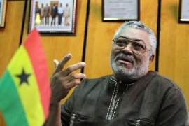 Rawlings seized power twice in military coups but went on to bring democratic rule to Ghana [File: Noor Khamis/Reuters]