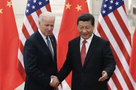Chinese President Xi Jinping, right, and US President-elect Joe Biden, left, have a history of working together, but the US-China relationship is much more fractured now than it was when Biden was vice president under Barack Obama [File: Lintao Zhang/Pool via Reuters]