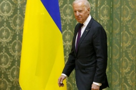 In this file image from 2017, then-Vice President Joe Biden attends a meeting with then-Ukrainian Prime Minister Volodymyr Groysman in Kyiv [Valentyn Ogirenko/Reuters]