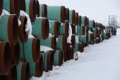 A depot used to store pipes for the Keystone XL oil pipeline is seen in Gascoyne, North Dakota, in January 2017 [Terray Sylvester/Reuters]