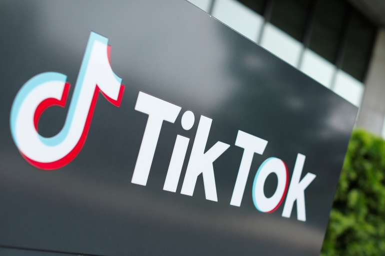 The TikTok logo is pictured outside the company's US head office in Culver City, California, US [File: Mike Blake/ Reuters]