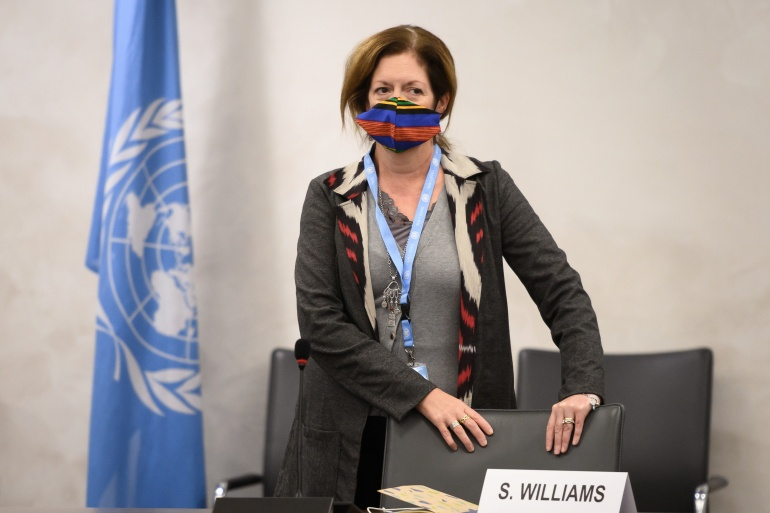 Deputy Special Representative of the UN Secretary-General for Political Affairs in Libya Stephanie Williams attends talks between rival Libya factions at the UN in Geneva, Switzerland October 20, 2020 [Fabrice Coffrini/Pool/Reuters] (Reuters)