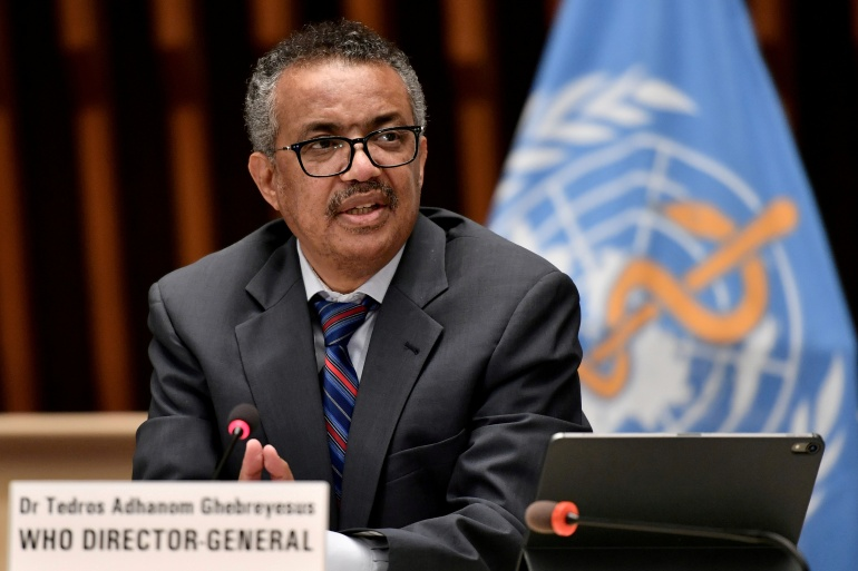The 55-year-old former Ethiopian foreign minister has been at the forefront of the United Nations health agency's efforts to battle the pandemic [File: Fabrice Coffrini/Pool via Reuters]