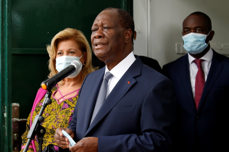 President Alassane Ouattara speaks after casting his ballot in Abidjan [Luc Gnago/Reuters]