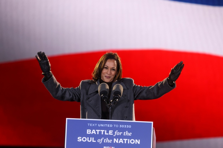 Then-vice presidential candidate Kamala Harris gives remarks during an event, in Philadelphia, Pennsylvania, on November 2 [Jonathan Ernst/Reuters]