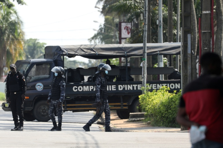 Security forces surround the residence of former President Henri Konan Bedie [Luc Gnago/Reuters]