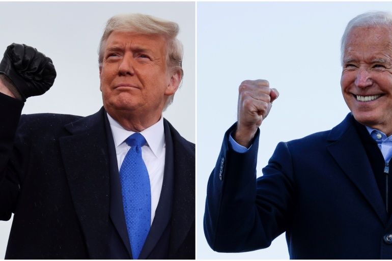 A combination picture shows US presidential candidates President Donald Trump and Democrat Joe Biden pumping their fists during a campaign events [File: Jonathan Ernst/Brian Snyder]