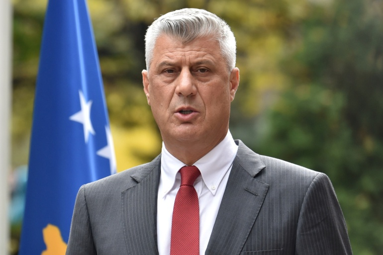 Kosovo's President Hashim Thaci speaks in Pristina during a news conference as he resigns to face war crimes charges in The Hague [Laura Hasani/Reuters]