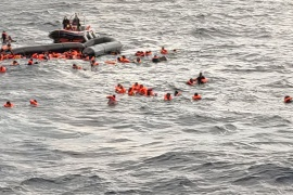 People at sea waiting to be rescued by Spanish search and rescue ship Open Arms during a search and rescue operation in the Mediterranean Sea, November 11, 2020 [Open Arms/Handout/Reuters]