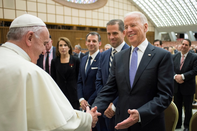 Pope Francis meeting Joe Biden at the Vatican on April 29, 2016 [File: Osservatore Romano/Handout via Reuters]