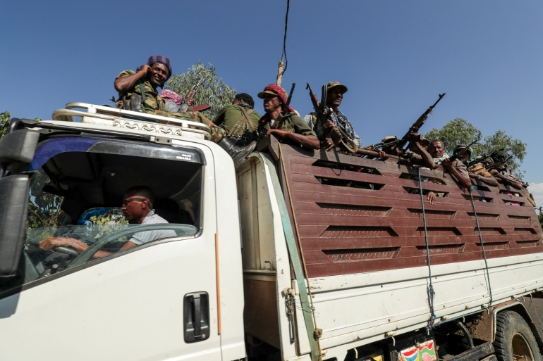 Members of Amhara region armed group as they head to face the Tigray People's Liberation Front [File: Tiksa Negeri/Reuters]