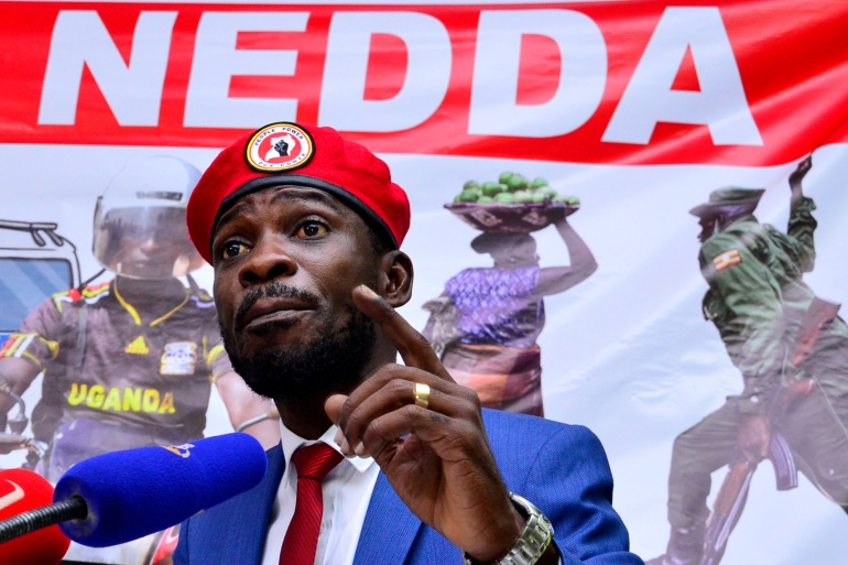 Bobi Wine has claimed he won the election [File: Abubaker Lubowa/Reuters]