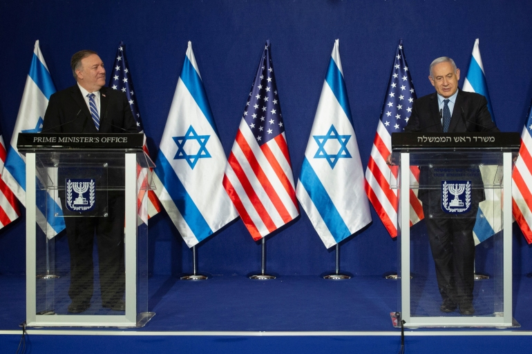 US Secretary of State Mike Pompeo, left, and Israeli Prime Minister Benjamin Netanyahu make a joint statement after meeting in Jerusalem, November 19, 2020 [Maya Alleruzzo/Pool/Reuters]