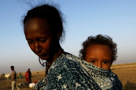 Ethiopian refugees fleeing the conflict at a camp in eastern Sudan's Kassala state [Mohamed Nureldin Abdallah/Reuters]