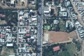 A satellite image showing vehicles queueing for gas in Mekelle on November 23 [Maxar Technologies/Handout via Reuters]