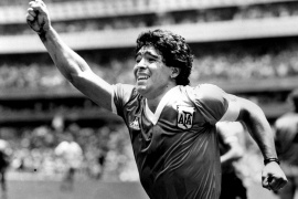 FILE PHOTO: Argentinian star Diego Maradona raises his arm in the air after scoring his game winning goal against England in their World Cup semi final in Mexico, June 22, 1986. REUTERS/Ted Blackbrow/Pool/File Photo IRELAND OUT. NO COMMERCIAL OR EDITORIAL SALES IN IRELAND. UNITED KINGDOM OUT. NO COMMERCIAL OR EDITORIAL SALES IN UNITED KINGDOM
