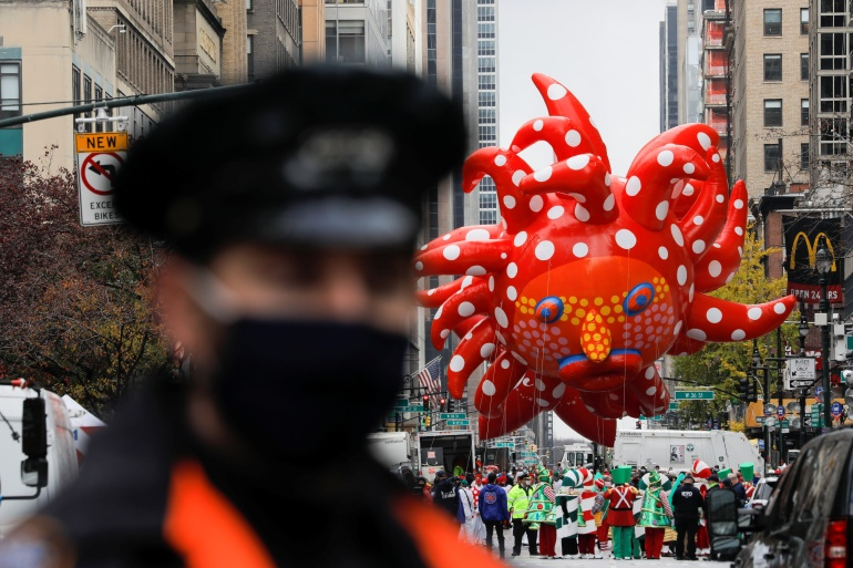 The Macy's Thanksgiving Day Parade in New York has been scaled back significantly [Andrew Kelly/Reuters]