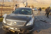 The scene of the attack that killed prominent Iranian scientist Mohsen Fakhrizadeh, outside Tehran, Iran [WANA via Reuters]