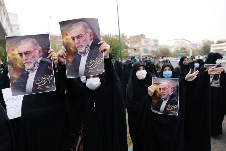 A demonstration against the killing of Fakhrizadeh in Tehran, Iran [Majid Asgaripour/WANA via Reuters]