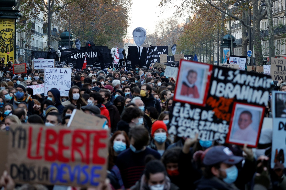 About 46,000 people marched in Paris and 133,000 in total nationwide, according to the interior ministry. Protest organisers estimated 500,000 joined nationwide, including 200,000 in the capital. [Christian Hartmann/Reuters]