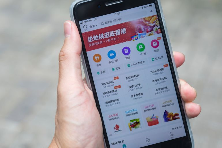 Shares of some of China's top technology firms including e-commerce platforms such as Meituan (pic) and Alibaba have slumped following Beijing's latest antitrust drive [File: Paul Yeung/Bloomberg]