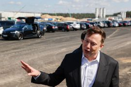 Tesla CEO Elon Musk travels regularly on his private jet between work sites for Tesla and the rocket company he runs, Space Exploration Technologies Corp [File: Odd Andersen/AFP/Getty Images/ AFP]
