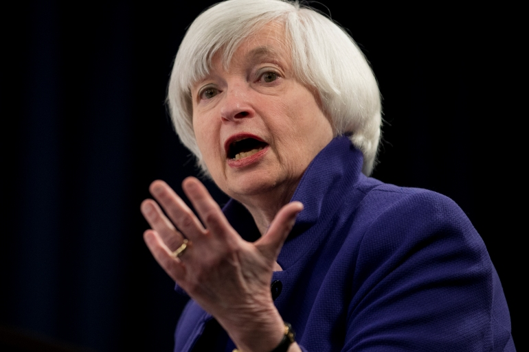 Former Fed chief Janet Yellen marked her formal nomination to lead the United States Treasury by opening a Twitter account with a profile that reads: 'Current nominee for Treasury Secretary. Former Fed Chair. Always an economist.' [File: Carolyn Kaster/AP]