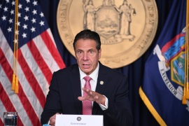 New York Governor Andrew Cuomo has been recognised for his daily briefings on COVID-19 at the start of the outbreak in the United States [AP]