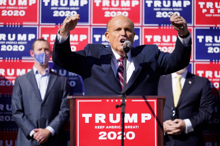 Rudy Giuliani, a lawyer for President Donald Trump, has been the public face of the Trump campaign's efforts to overturn President-elect Joe Biden's election victory [John Minchillo/AP Photo]