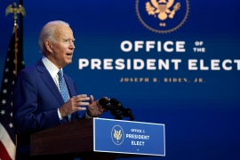 President-elect Joe Biden speaks after the first briefing of his newly launched coronavirus task force [Carolyn Kaster/AP Photo]