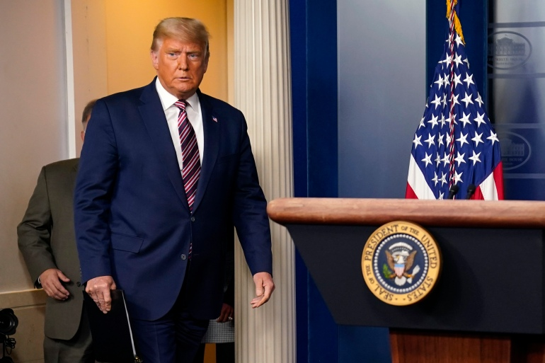 Trump on Wednesday repeated many of the same debunked claims of vote fraud as he made at his last news conference on the election results, November 5, 2020 [Evan Vucci/AP Photo]