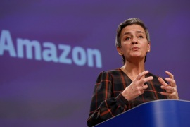 Margrethe Vestager, the EU commissioner in charge of competition, said it is not a problem that Amazon is a successful business but 'our concern is very specific business conduct which appears to distort genuine competition' [Olivier Hoslet/Pool via AP]