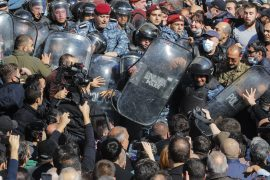 Demonstrators protested in the Armenian capital as anger mounted over PM Nikol Pashinyan's decision to cede swathes of disputed territory to Azerbaijan [Dmitri Lovetsky/AP]
