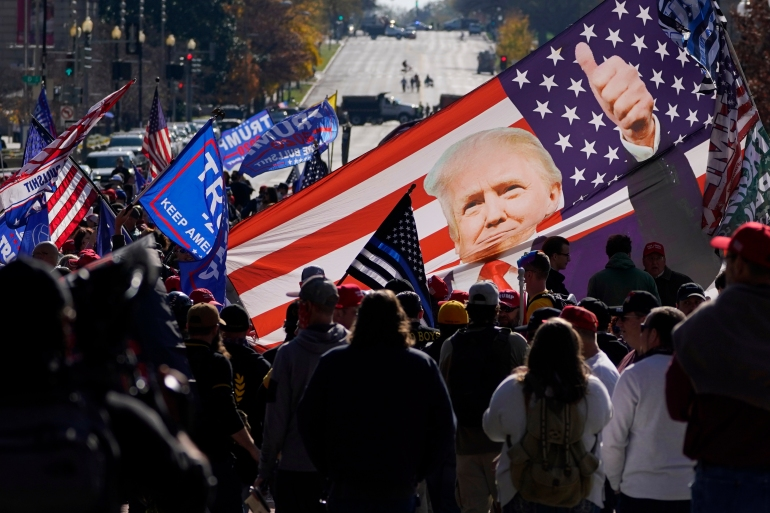 Supporters of President Donald Trump rallied at Freedom Plaza in Washington, DC [Julio Cortez/AP]