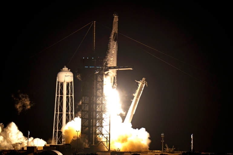 Axiom Space's first private crew will spend eight days at the International Space Station after travelling there via a SpaceX Dragon capsule launched from Cape Canaveral, Florida, the United States (AP Photo/John Raoux)