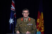 Chief of the Australian Defence Force General Angus Campbell delivers the findings from the inspector general of the Australian Defence Force Afghanistan Inquiry, in Canberra on November 19, 2020 [Mick Tsikas/Pool Photo via AP]