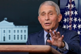 Dr Anthony Fauci, director of the National Institute for Allergy and Infectious Diseases, has warned of a 'surge upon a surge' of infections in coming weeks [File: Susan Walsh/The Associated Press]