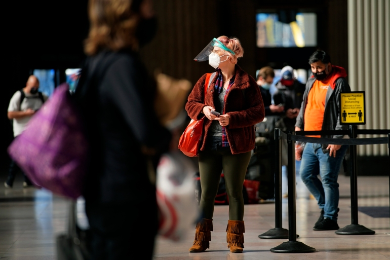 Officials have warned against travelling and large gatherings for the United States Thanksgiving holiday [Matt Slocum/The Associated Press]